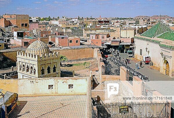Almoravid Qubba und Ben Youssef Mosque seen from above.
