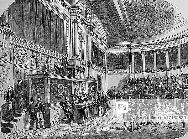 Assembly hall of the legislative body  paris painting by edmond texier  publisher paulin et le chevalier 1852.
