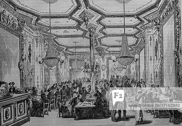 Cafe pierron  paris painting by edmond texier  publisher paulin et le chevalier 1852.