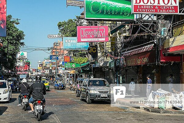 Bangkok  Thailand - December 7  2019: Famous tourist shopping and food street - Khaosan Road or Khao San Road  a world famous backpacker district in Bangkok  Thailand.