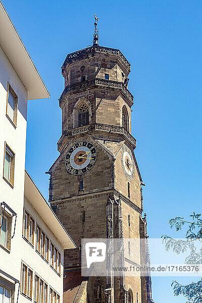 Germany  Baden-Wurttemberg  Stuttgart  Bell tower of Stiftskirche church