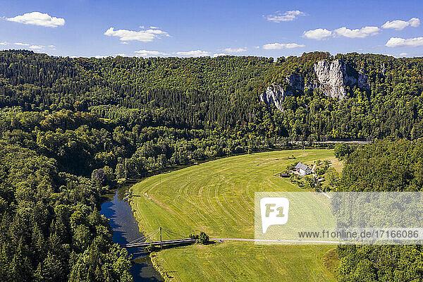 Germany  Baden Wuerttemberg  Swabian Alb  Upper Danube Nature Park  Upper Danube Valley  Aerial view of valley