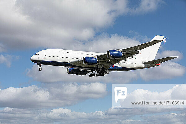 Commercial airplane preparing to land