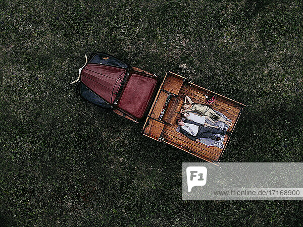 Drone shot of family lying on pick-up truck over grassy land