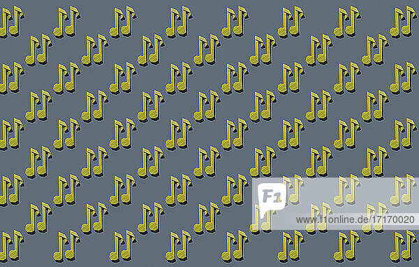 Pattern of yellow origami notes against gray background