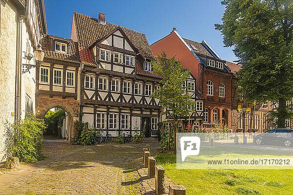 Germany  Lower Saxony  Brunswick  Historic half timbered townhouses in Magniviertel quarter