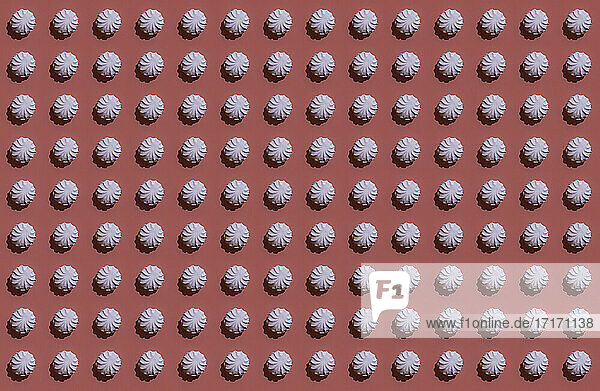 Pattern of rows of pink zefirs against brown background