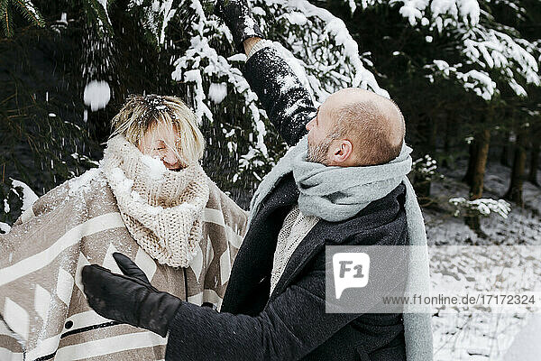 Mature couple with warm clothing having fun in snow by pine trees during vacations