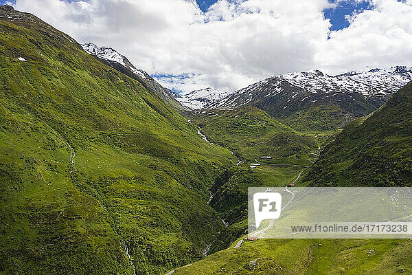 Switzerland  Furka Pass  James Bond Street  Mountains and road in valley