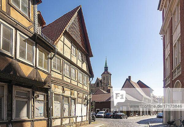 Germany  Lower Saxony  Brunswick  Historic half timbered houses
