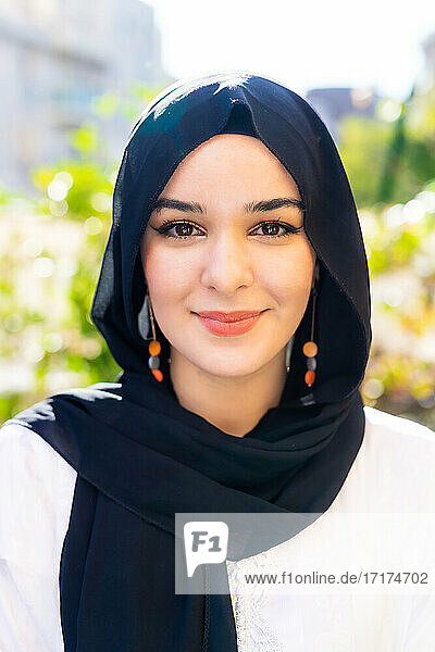 Portrait of a young woman wearing hijab