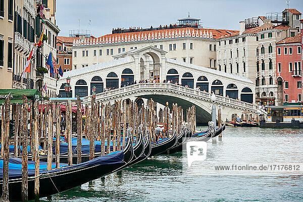 Rialtobrücke und Gondeln vom Boot aus  Venedig  Venetien  Italien  Rialto Bridge and gondolas seen from boat  Venice  Veneto  Italy 