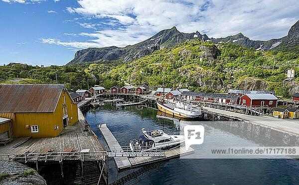 Hafen mit Fischerboot  Rorbuer Hütten  historischer Fischerort Nusfjord  Lofoten  Nordland  Norwegen  Europa