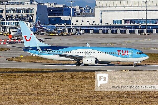 Eine Boeing 737-800 der TUI mit dem Kennzeichen D-ABAG auf dem Flughafen Stuttgart (STR)  Stuttgart  Deutschland  Europa