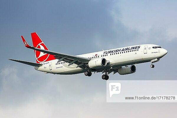 Eine Boeing 737-800 der Turkish Airlines mit dem Kennzeichen TC-JVM auf dem Flughafen Istanbul Atatürk (IST) in der  Istanbul  Türkei  Asien