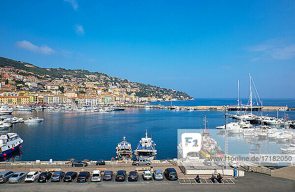 Porto Santo Stefano  Italy  Panoramic view of the harbor with leisure boats
