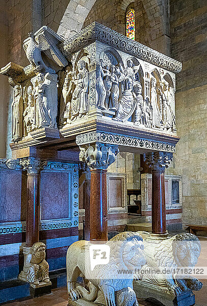 Barga  Italy  The marble lions and pulpit  XIII century  in the Cathedral of Saint Christopher (Collegiata di San Cristoforo)