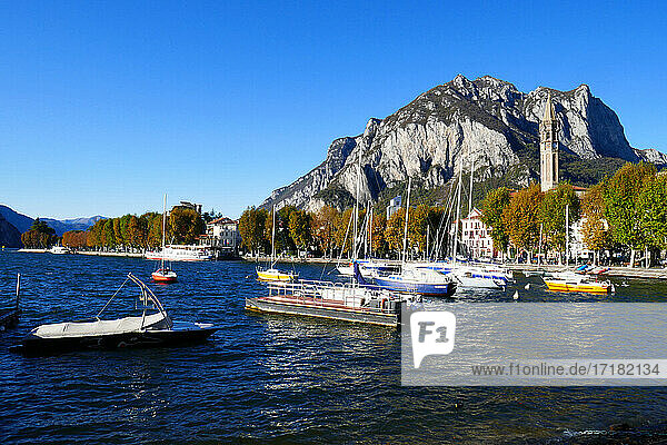 Italy  Lombardy  Lecco  Lakeside  San Martino mountain in the background
