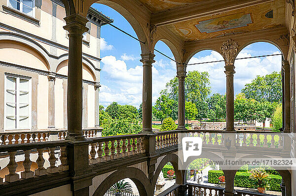 Lucca  Italy  The garden of the Pfanner palace seen from the loggia