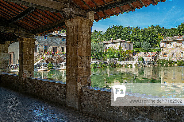 San Quirico D'Orcia  Italy  the square Of The Springs of the Bagno Vignoni thermal village