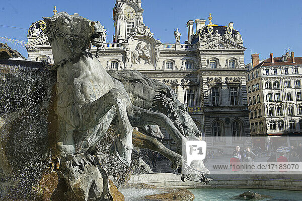 The Bartholdi fountain at La Place des Terreaux in Lyon  France Horse fountain