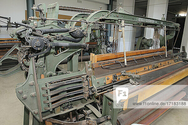 Europe  Italy  Lombardy  Varese country  Busto Arsizio  textile museum with old machines for fabric processing. shuttle loom for wool