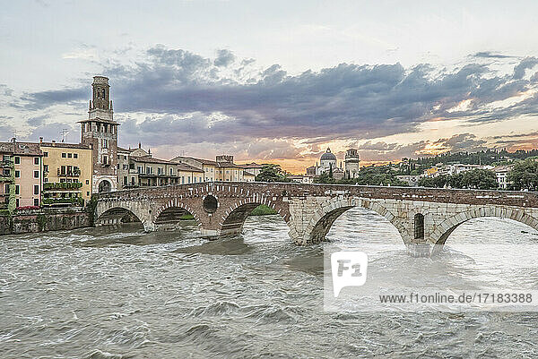 View of the Ponte Pietra over the Adige River in Verona  Italy.