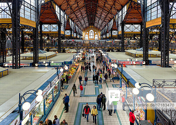 Budapest Great Market Hall  elevated view of food market stalls and people shopping.