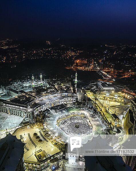 Die jährliche islamische Pilgerfahrt Hajj nach Mekka  Saudi-Arabien  Luftaufnahme.
