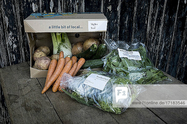 Close up of an organic vegetable box with a selection of fresh produce.