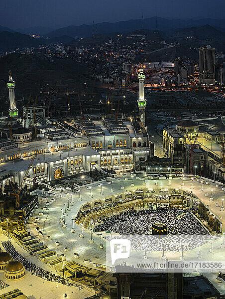 Die jährliche islamische Pilgerfahrt Hajj nach Mekka  Saudi-Arabien. Luftaufnahme.