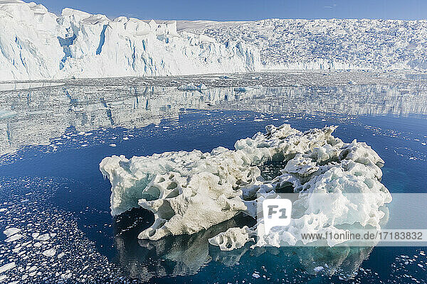 Tidewater glacier and brash ice in Cierva Cove  Hughes Bay  Antarctica  Polar Regions