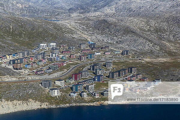 Aerial view of Nuuk (Godthab)  the Capital and the largest city in Greenland  Polar Regions
