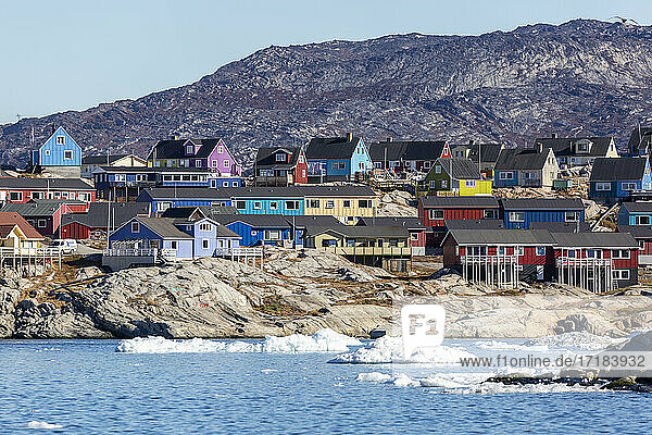 View from the outer bay of the third largest city in Greenland  Ilulissat (Jakobshavn)  Greenland  Polar Regions