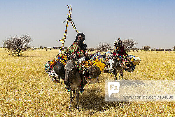 Peul woman with her children on their donkeys in the Sahel  Niger  Africa