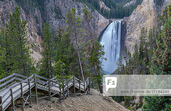 Stairs leading to Lower Falls of the Grand Canyon  Yellowstone National Park  UNESCO World Heritage Site  Wyoming  United States of America  North America