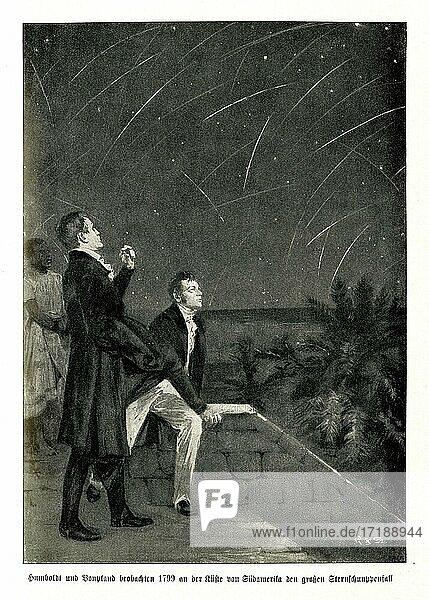 Alexander von Humboldt und Aimée Bonpland beobachten 1799 an der Küste von Südamerika den großen Sternschnuppenfall