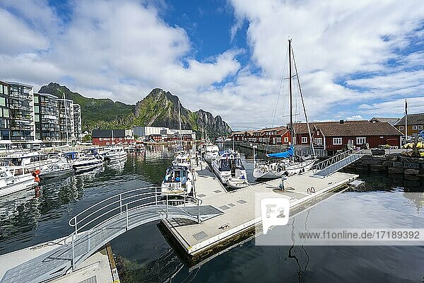 Boats in the harbour of Svolvær  Lofoten  Nordland  Norway  Europe