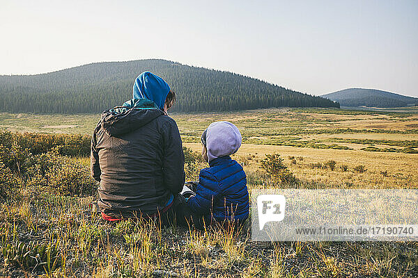 Mother and child enjoying the view in the Buffalo Peaks Wilderness