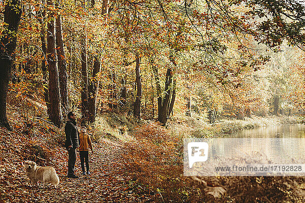 Boy and father standing under trees next to canal in fall