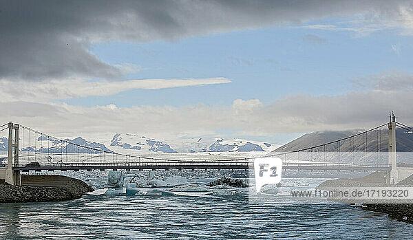 suspension bridge over the glacier lagoon Jökulsárlón
