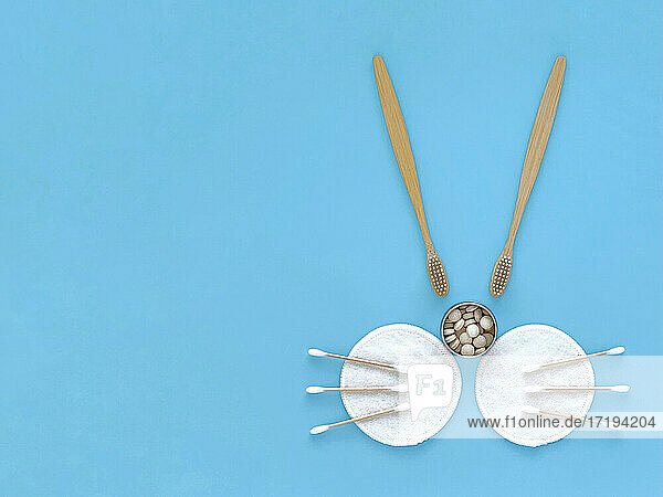 Easter eco bunny: bamboo toothbrushes  toothpaste  ear sticks  sponges