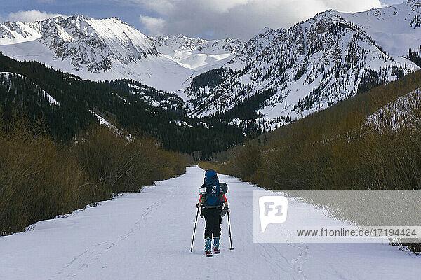 Ski touring in mountains of Colorado