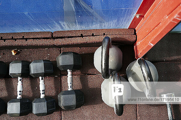 Kettle bell and weights from POV