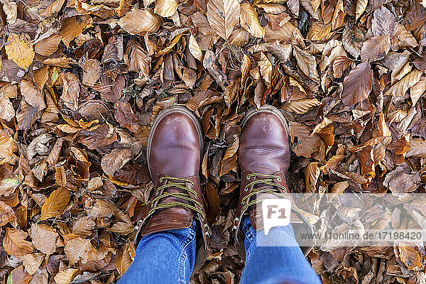 Woman with boots standing in autumn leaves in forest