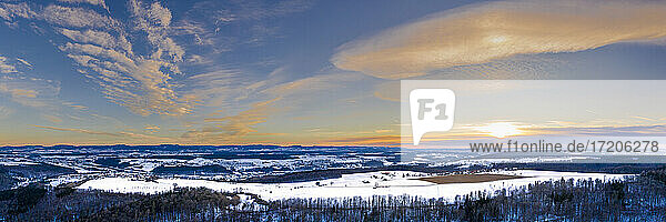 Germany  Baden Wurttemberg  Aerial view of Swabian Forest in winter