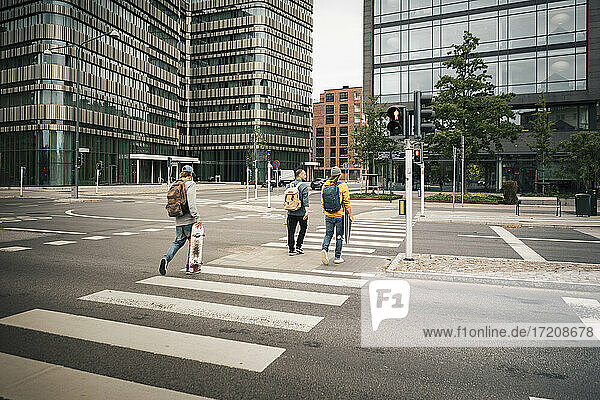 Rear view of male friends crossing street in city