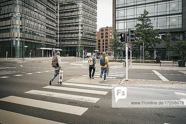Rear view of male friends crossing street in city