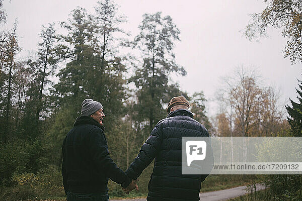Happy homosexual couple holding hands while walking in forest