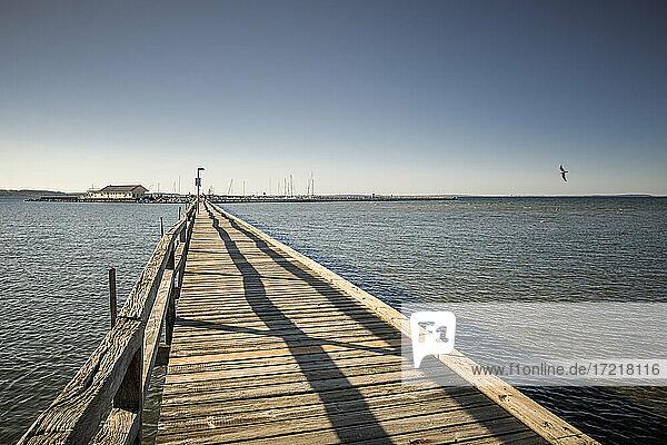Langer Holzsteg führt über das Wasser der Ostsee zm Yachthafen Wackerballig an der Geltinger Bucht